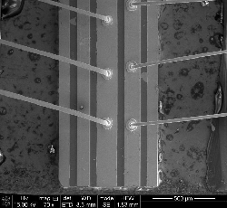 Terahertz quantum cascade laser (QCL) shown in scanning electron microscope image by Wang, et al/AIP Advances